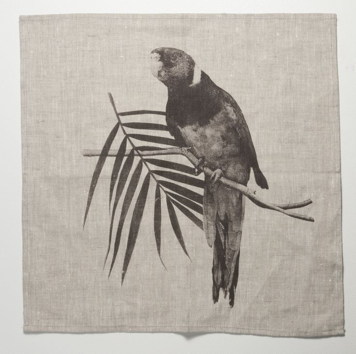 Natural linen Napkins (set of 4) - Black Rosella by Bonnie and Neil | via State of Green