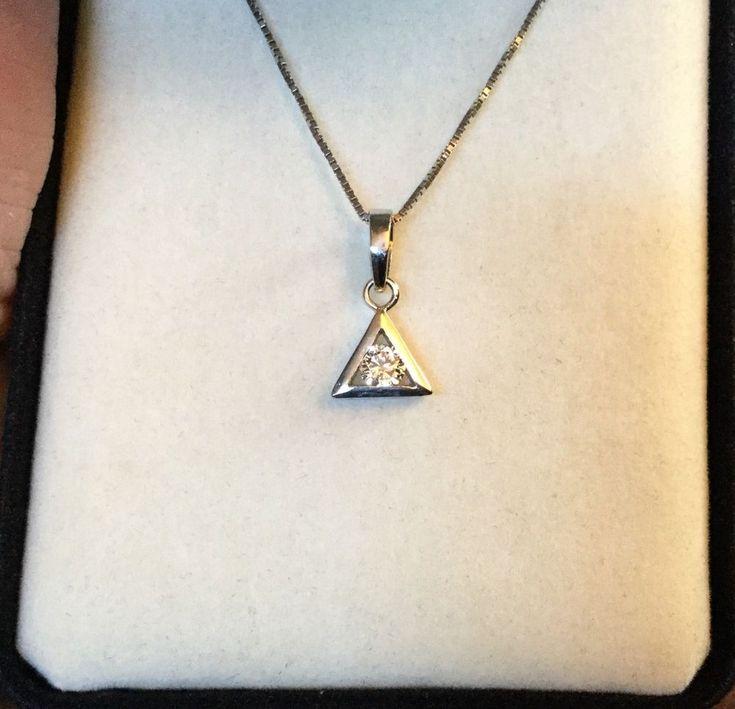 STUNNING 18K WHITE GOLD NECKLACE 14K NATURAL SOUTH AFRICAN DIAMOND PENDANT!!    eBay