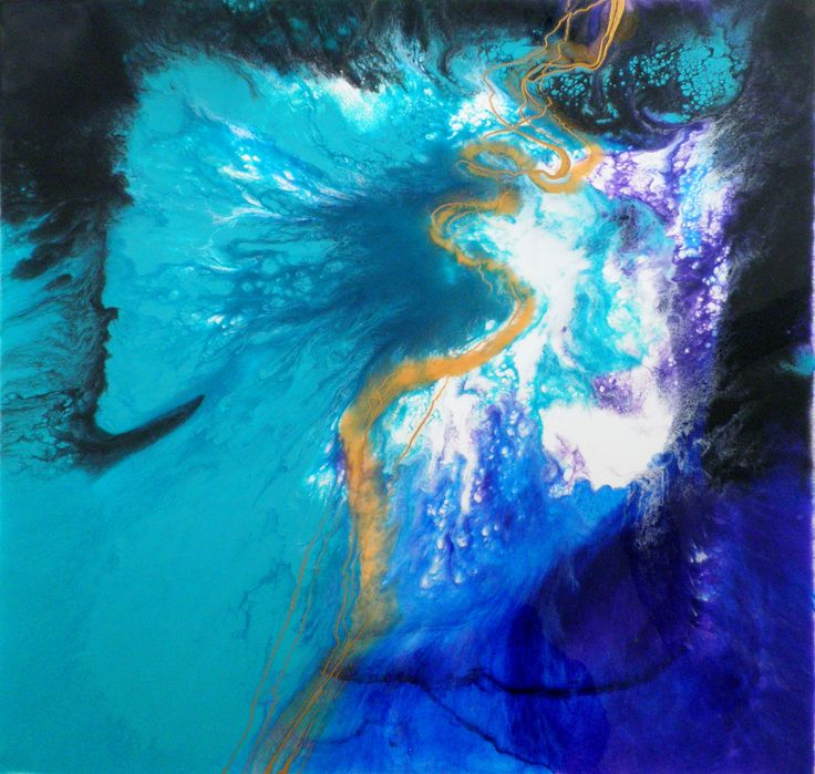 Algae Bloom,  Sea art, acrylic, ink and resin on canvas.  Grace Louise