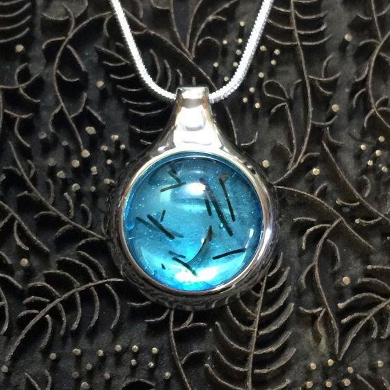 Fused Glass Pendant  Translucent Blue by TrueGlassCo on Etsy