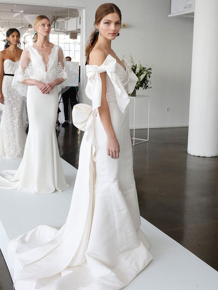 Wedding Dress with Off-The-Shoulder Bow Sleeves | Marchesa Spring 2018