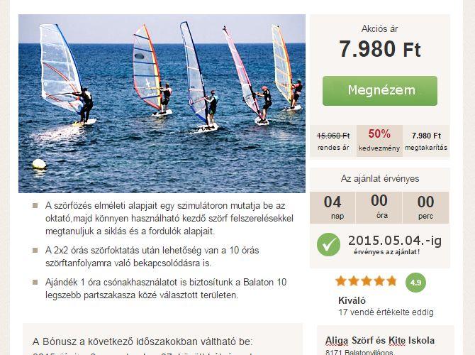 Szörf oktatás illetve szörftábor 50 % kedvezménnyel 2x2 óra  a Balaton szörf tanuló helyszínén