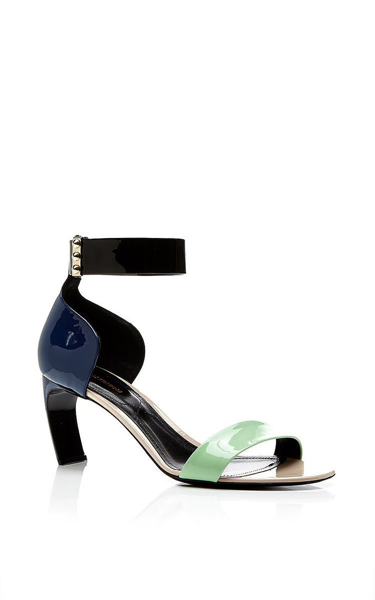 Color-Block Patent Leather Sandals by Nicholas Kirkwood Now Available on Moda Operandi