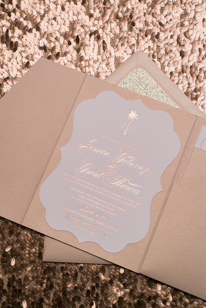 Wedding Invitations, Rose Gold Foil, Rose Gold Glitter, Destination Wedding, Ornate Pocket Folder, Kona Suite