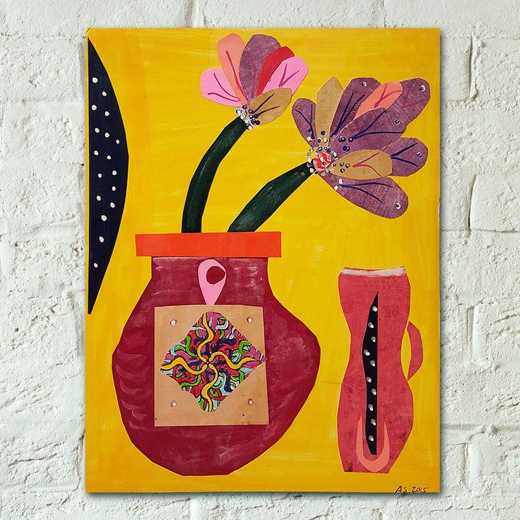 Lotus Symbol Art - Flowers Painting - Buddhist Art - Mixed Media Art - Yoga Studio Decor - Flowers in Vase Painting - Meditation Painting by AydasArtStore on Etsy