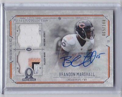 2014 Topps Museum Pro Bowl Brandon Marshall Auto Dual Relic #d 65/100 Bears Jet