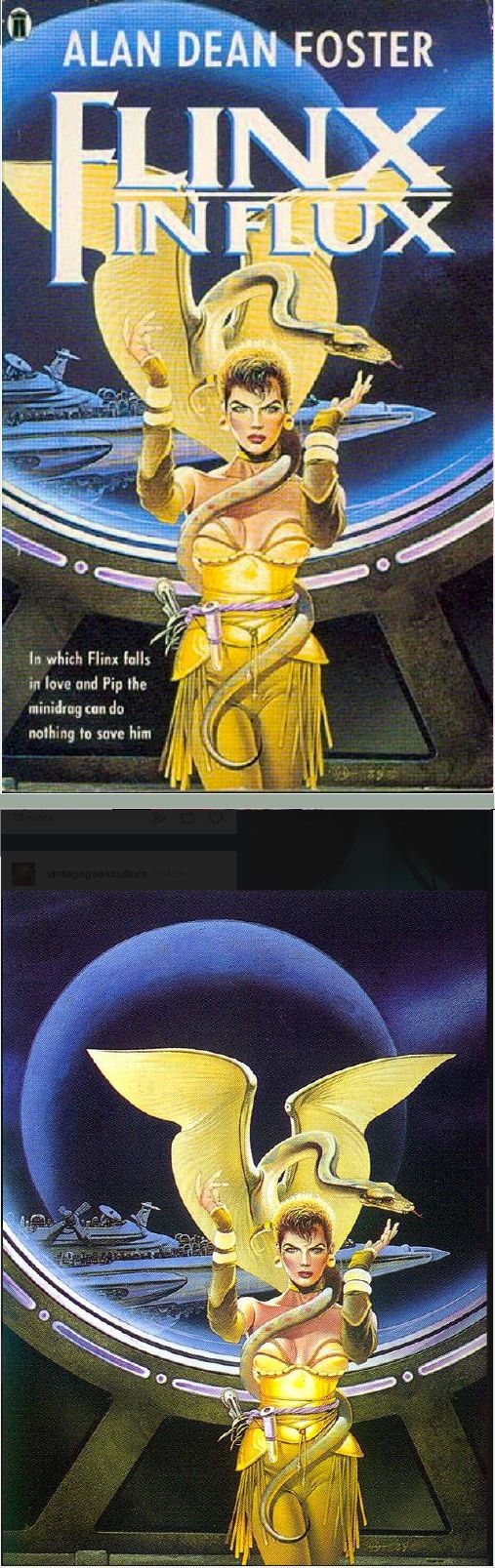 MICHAEL WHELAN - Flinx in Flux by Alan Dean Foster - 1989 New English Library - cover by isfdb - print by tumblr