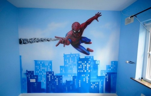 Spiderman Wall Mural image detail for - kids room wall decor » spiderman wall mural