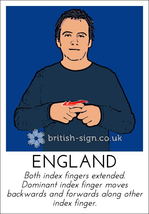 Today's British Sign Language sign is: ENGLAND - Happy St George's Day - learn more at www.british-sign.co.uk