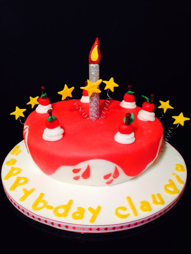 Birthday cake in red with cherries