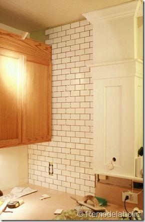 Remodelaholic | White Subway Tile Back Splash Tutorial