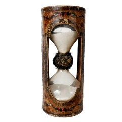 Rare Italian Hourglass Made Out of Painted and Cut Decoupage Papier Mache'. thumbnail 1