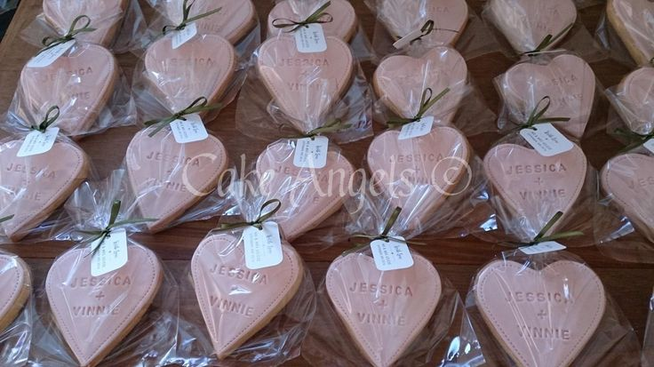 Pink Heart Wedding Cookie Favours