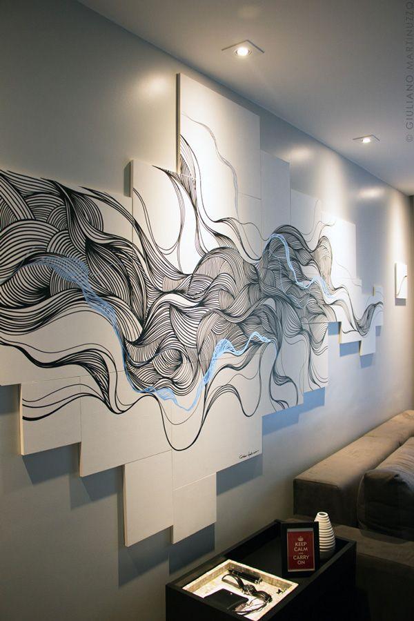 O maior desafio desta arte foi criar um desenho tão fluído como se estivesse pintado diretamente nas paredes. A solução foi trabalhar com painéis desconstruídos, mantendo a liberdade do movimento mas sem as restrições de molduras. O que acham do resultado?