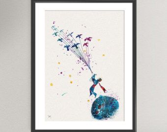 The LITTLE PRINCE Nº4 Watercolor Print - Le Petit Prince Ink Saint-Exupéry Painting Art Print Wall Art Gift Decor Poster Wall Decor Home