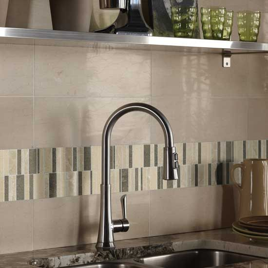 6 Kitchen Backsplash Ideas That Will Transform Your Space: Havana Tan Marble And Waterfall Blend Marble Mosaic By