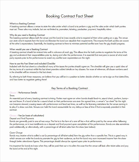 Artist Booking Contract Template Inspirational 10 Booking Agent Contract Templates To Download Contract Template Free Wine Label Template Contract