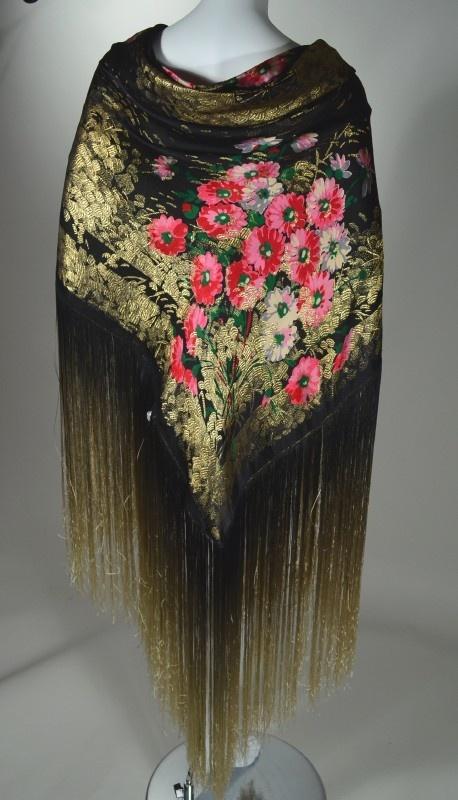 gorgeous   1920s Vintage Floral Pattern Silk Lame Shawl Ombre Fringe Art Deco