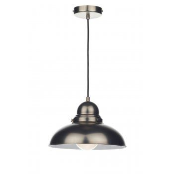 Dar Lighting Dynamo 1 Light Industrial Pendant in Antique Chrome DYN0161 | Arrow Electrical