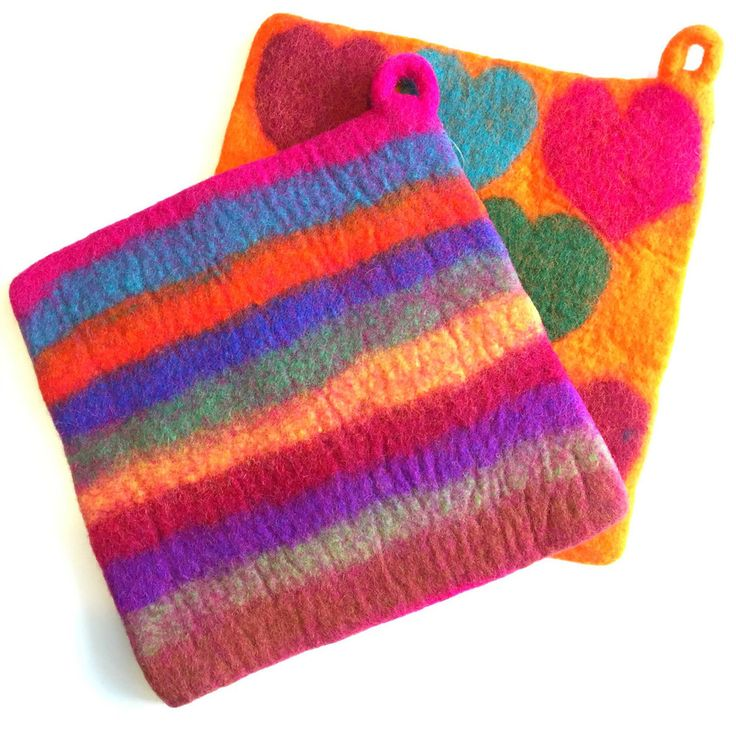 Fun Felt Potholders are everyone's favorite kitchen accessory! They will protect your hands when reaching into the oven as well as your counters and table from hot dishes. Colors and designs vary. We'