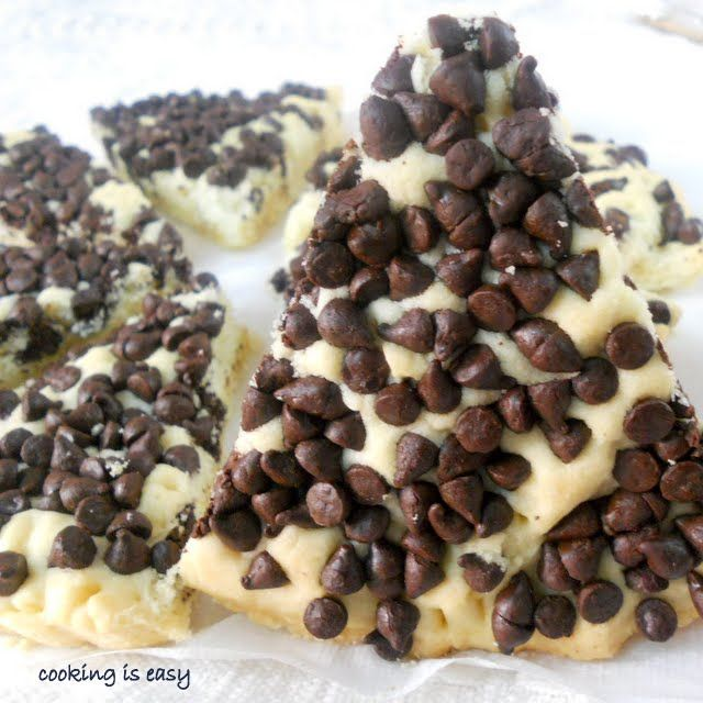 Best ever chocolate chips shortbread.....just spread, bake, and slice...YUM!