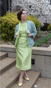 """My 2016 Easter outfit of a shantung dress and reversible suit jacket, made from a year 1954 Simplicity #4793, by Kelly at """"seamracer.com"""""""