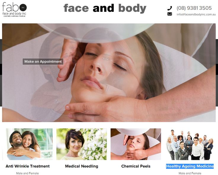 Face and Body Inc is a website about beauty treatment and known for the ff services - Perth Skin Care, Hormone Replacement Therapy, Chemical Peel and Wrinkle Relaxes. See the website at http://www.faceandbodyinc.com.au. Another website develop by  http://www.sushidigital.com.au/