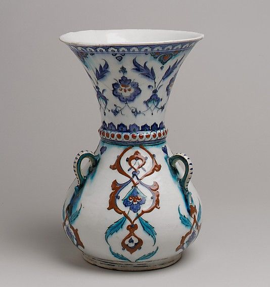 Mosque Lamp | Iznik, Turkey, late 16th century | Stonepaste; painted and glazed | Mosque lamps such this were probably not used for lighting but suspended from chains in tombs and mosques. They served to enhance the aesthetic quality and acoustic capabilities of these interiors | The Metropolitan Museum of Art, New York
