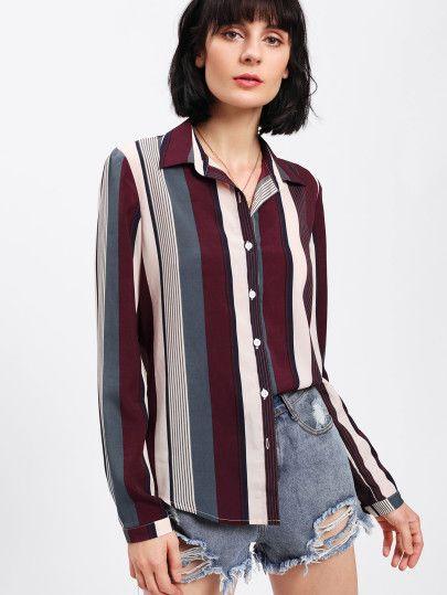 459e2771bd9f1 Vertical Striped Curved Hem Shirt -SheIn(Sheinside) | tops | Shirt ...