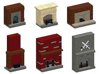 LEGO INSTRUCTIONS for set of 6 custom designed Lego Fireplaces