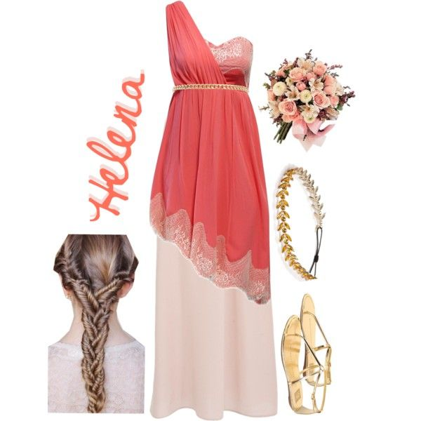 Helena, Midsummer Night's Dream by attendthetale on Polyvore featuring Jane Norman, Dolce Vita, Tasha, Warehouse, head wraps, maxi skirts, flat sandals, midi dresses, hot pink and hot pink dresses