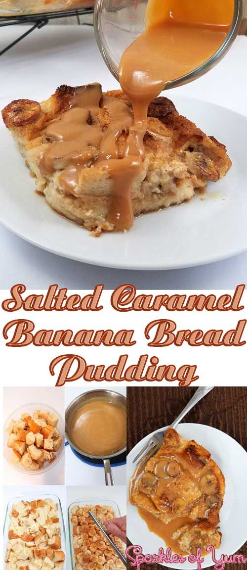 As close to heaven on a fork as you can get! Bananas and bread drenched in salted caramel, all toasty warm straight out of the oven.