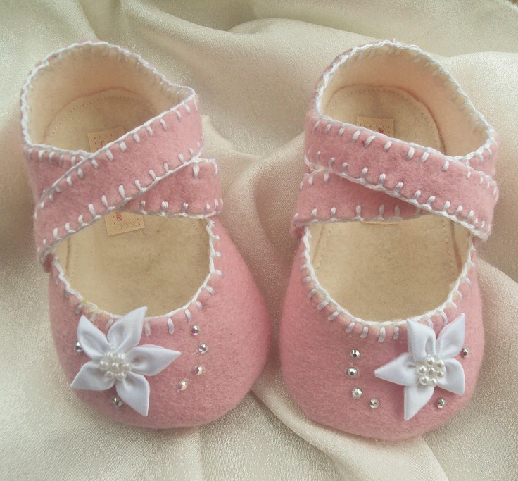 Baby Girl Shoes Pink Wool Felt Made to Order. $33.00, via Etsy.