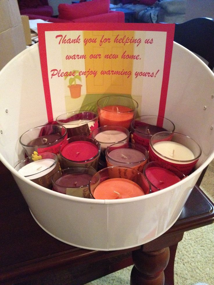 Housewarming party candle favors: thank you for warming our new home. Now  enjoy warming