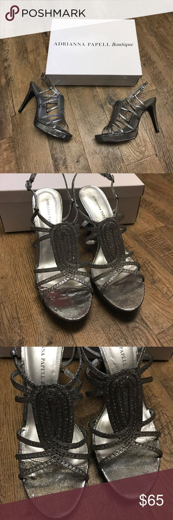 Adrianna Papell Boutique Brandy Pewter Sandals 8 Absolutely stunning ✨ Adrianna Papell Boutique Brandy Pewter Stone Metallic High Heel Sandals - Size 8 - excellent, used condition - only worn once for a wedding - very comfortable - heel is approx. 4 inches - no stones are missing - comes with box and additional stones - super sexy sandals Adrianna Papell Shoes Heels
