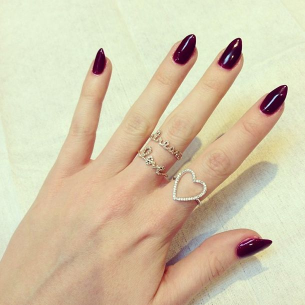The beautiful Rosie Fortescue paired her festive Christmas manicure with our Heart Ring.
