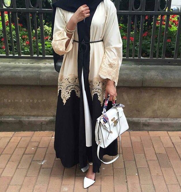 Beige black lace abaya