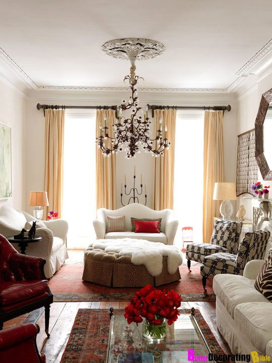 Perfect Chandelier In A Boho Glam Living Room