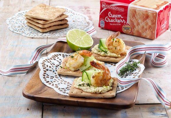 """Καναπεδάκια με """"Cream Crackers"""" ΠΑΠΑΔΟΠΟΥΛΟΥ Σίτου και γαρίδες"""