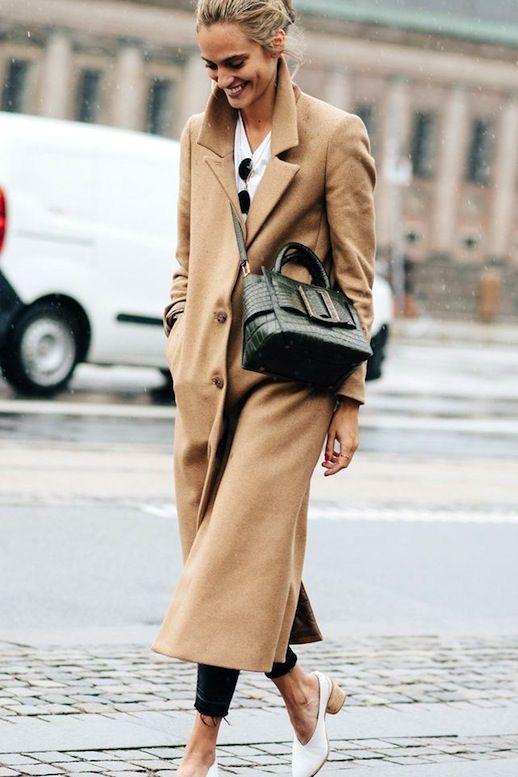 Le Fashion Blog Street Style Long Camel Coat White Tee Raw Hem Skinny Jeans Buckle Front Crossbody Bag Block Heels Via British Vogue