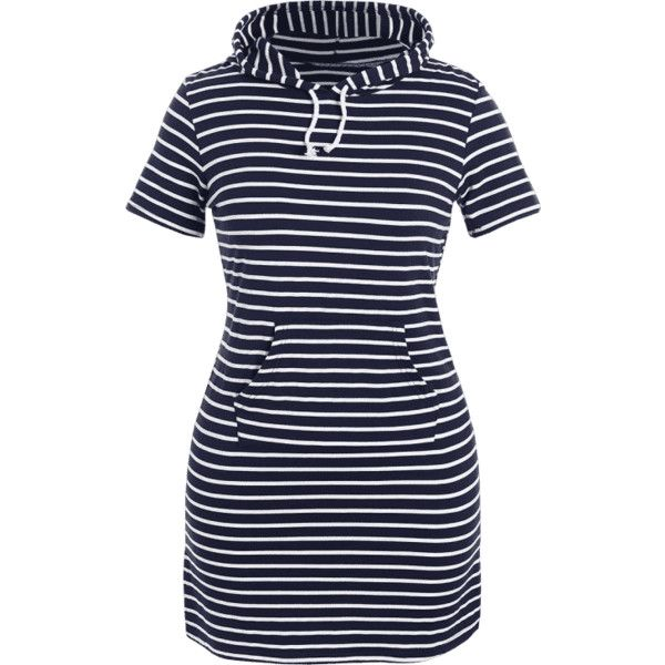 Striped Hooded Plus Size Bodycon Dress (£15) ❤ liked on Polyvore featuring dresses, blue color dress, blue dress, plus size blue dress, plus size dresses and body con dress