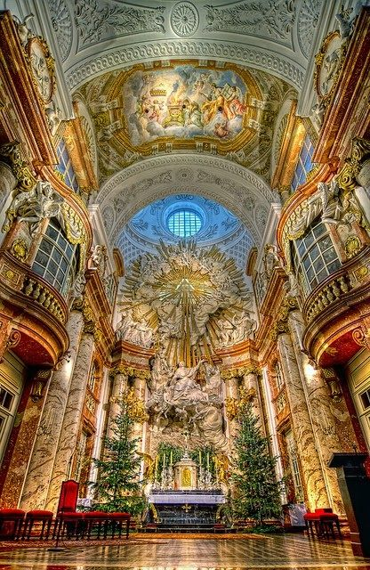 Karlskirche, one of the most outstanding baroque church structures in Vienna, Austria