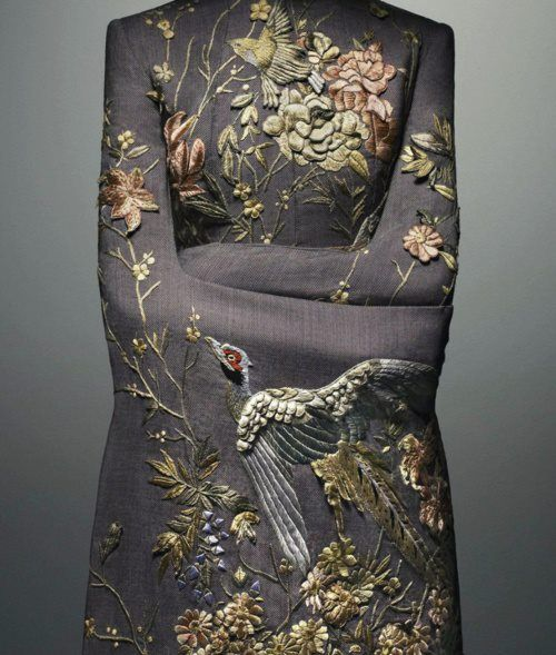 Alexander McQueen using stump work - raising the embroidery to create depth - but what miracle fabric did he use? I would have thought the embroidery would have been too heavy - also - not a single crimp or crease. awe-struck