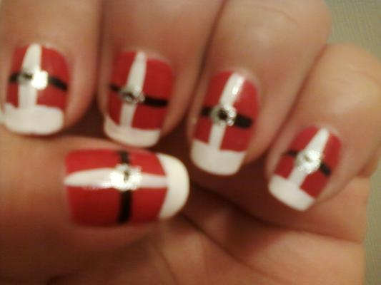 Santa's Coat Nail Design. This is the first of my Christmas nail design series.
