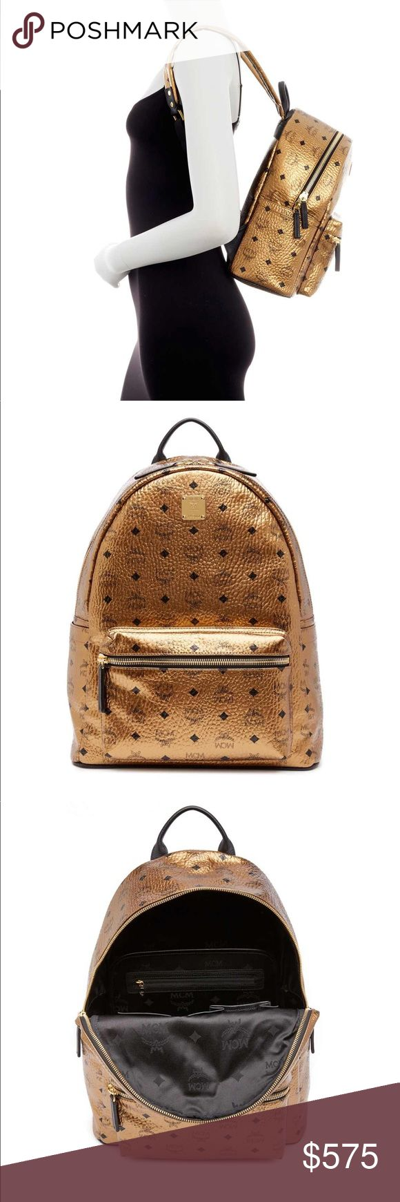 BRAND NEW AUTHENTIC MCM GOLD LIMITED ED BACKPACK Brand new with tags limited edition GOLD leather MCM backpack purchased directly by me with proof of purchase all tags intact. $720 MRSP RETAIL PRICE BEFORE TAX NO TRADES. MCM Bags Backpacks