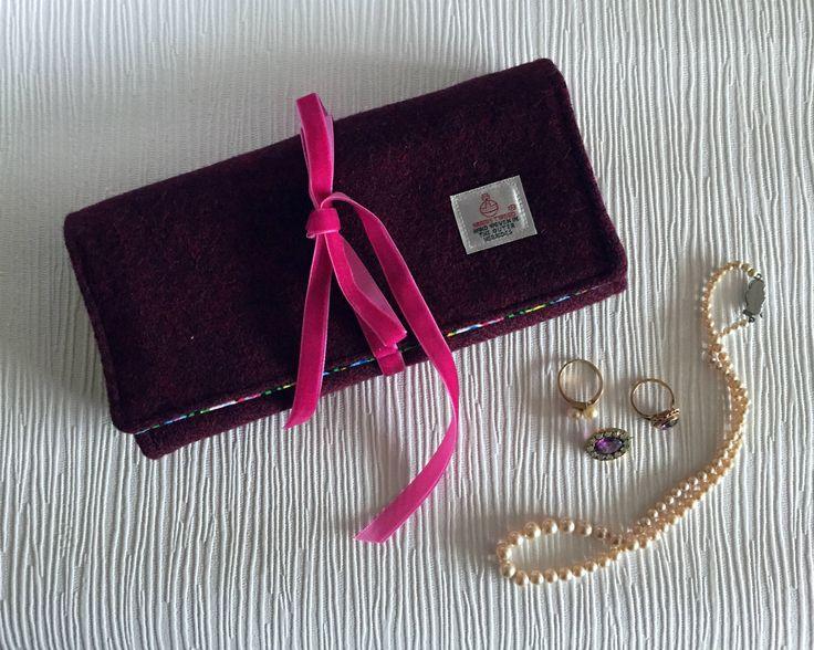 Stylish jewellery roll in beautiful claret Harris Tweed #jewellerycase #giftforher #xmasgiftforwife