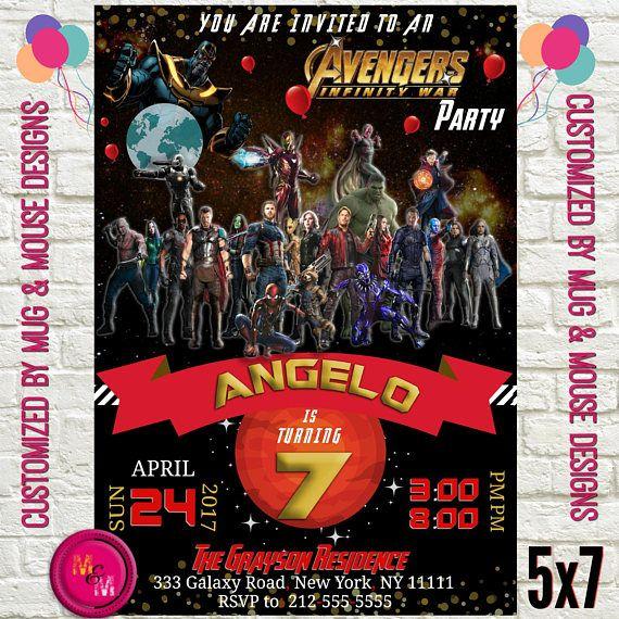 Avengers Infinity War Birthday Party Invitation Printable Small