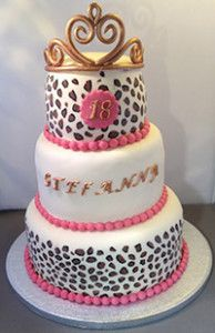 great 18 th birthday cake with a tiara, pearls and paint