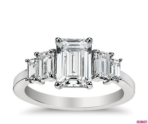 Celebuzz.com | Shop the Look: Angelina Jolie's Engagement Ring | Four Stone Emerald Diamond Engagement Ring, starting at $5,500, BlueNile.com