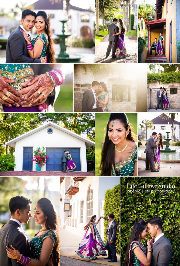 Life and Love Studio. South Asian wedding. Indian wedding. Engagement Portraits. Downtown St Augustine. Fuchsia.